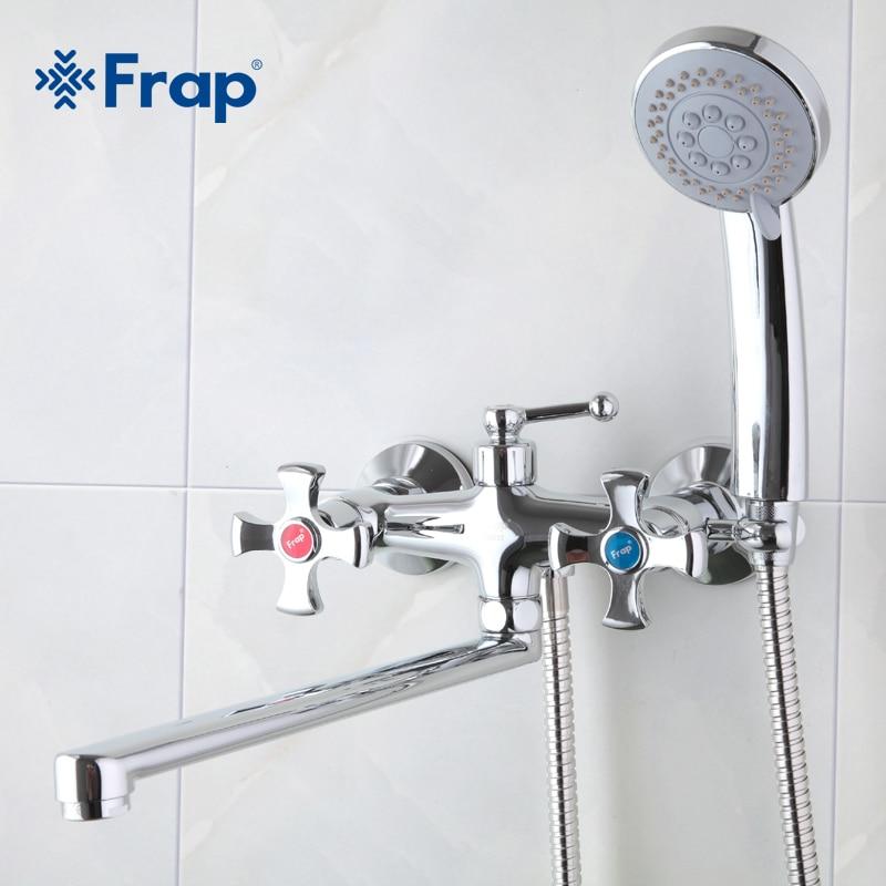 Frap dupla alça misturador do banheiro 30cm de aço inoxidável longo nariz saída bronze torneira do chuveiro f2293