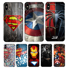 Marvel Avengers Ironman Batman Superman Phone Cases für iPhone 6 s 7 8 Plus XS Max XR X 10 Hard schlank Abdeckung Spiderman zubehör(China)