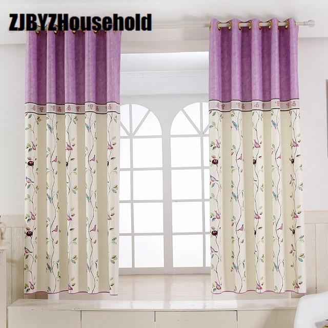 american garden bird splicing children curtain white silk half shade printing short curtains for. Black Bedroom Furniture Sets. Home Design Ideas