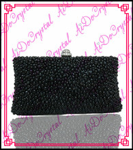 Aidocrystal  black crystals ladies clutch bag and sandal set for party