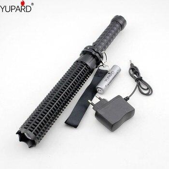 YUPARD Powerful led bright flashlight 18650  XM L2 self defense Patrol LED rechargeable flashlight+battery+charger