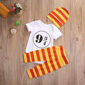 3pcs Baby Set Newborn Infant Toddler Baby Girls Boys Clothes Short Sleeve Number Cotton Romper+Striped Pants+Hat Outfits Set