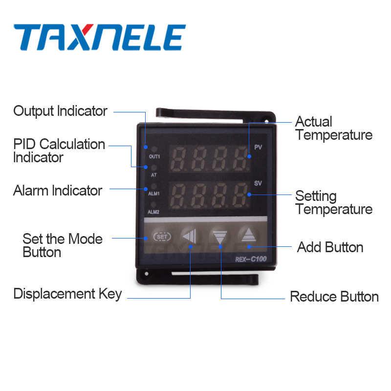 Régulateur de température numérique 220V REX-C100 + relais max.40A SSR + Thermocouple de type K + Thermostat de contrôleur PID de dissipateur de chaleur