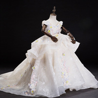 D 101, детское платье принцессы на свадьбу романтическое платье с цветочным узором, со шлейфом, со стразами Одежда для свадебной фотосъемки дл