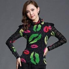autumn shirt  Korean plus size Formal blusas femininas 2018 fashion casual beading flower print cotton lace elegant blouse 95B недорого