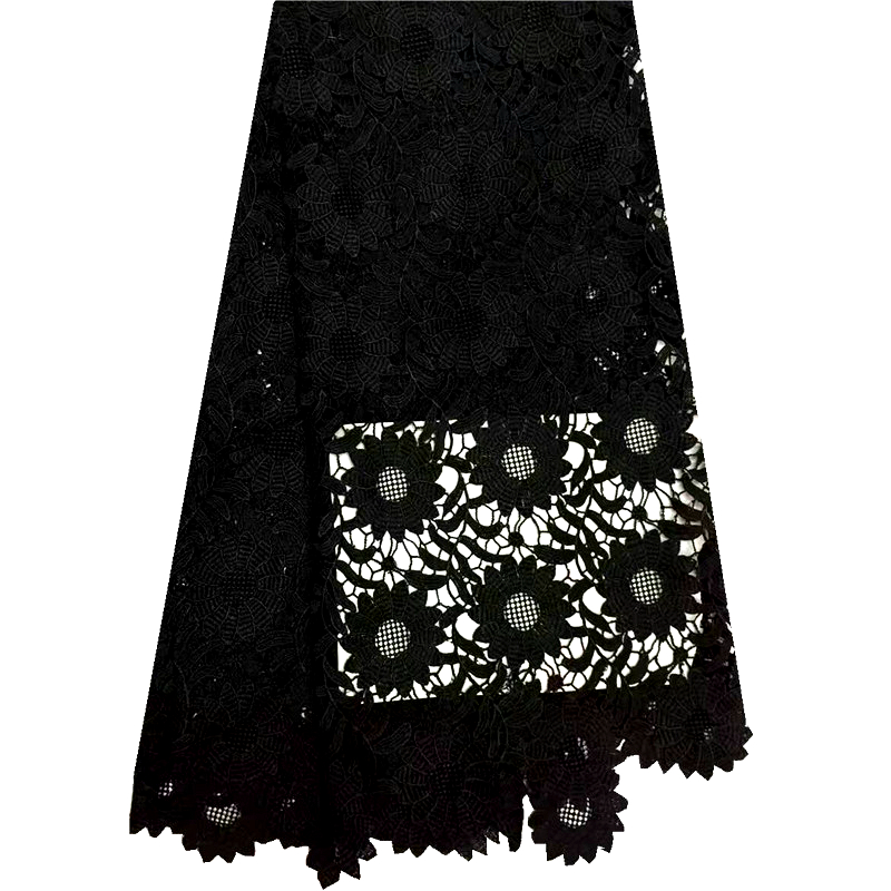 2016 new coming Black colors african lace cotton cord lace guipure lace fabric with high quality
