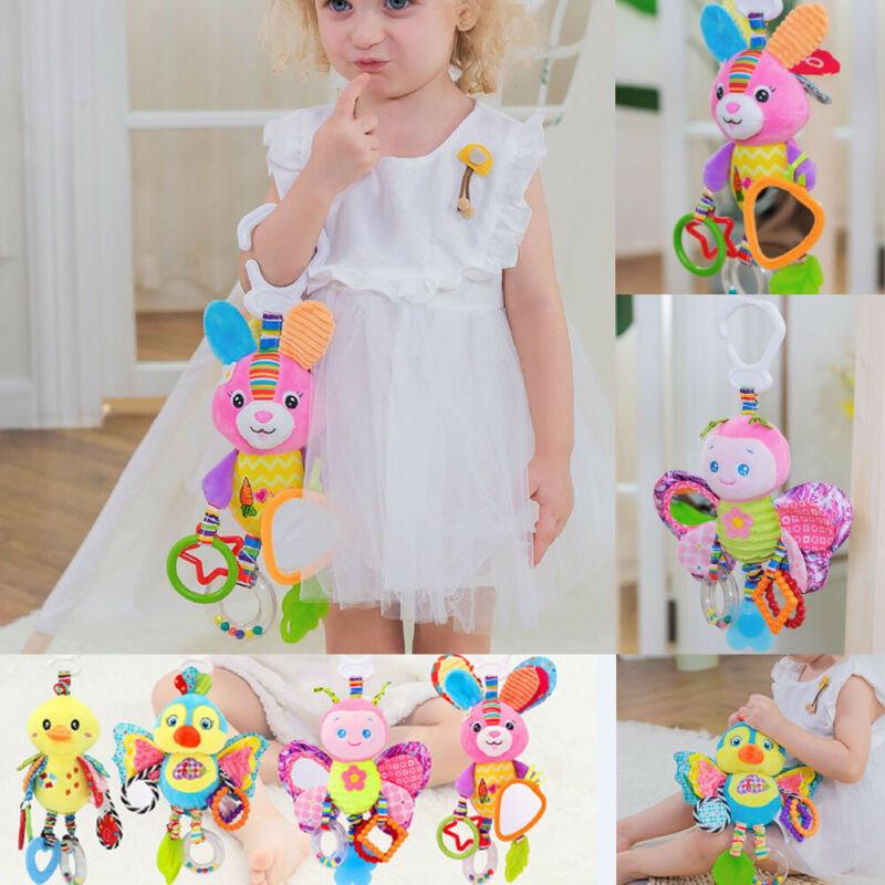 Baby Rattles Plush Animal Stroller Hanging Bell Play Toy Doll Soft Bell Toys Mobile Soft Cartoon Plush Animal Clip Rattles