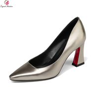 Original Intention New Sexy 2018 Women Pumps Cow Leather Square Toe Square Heels Pumps Green Champagne