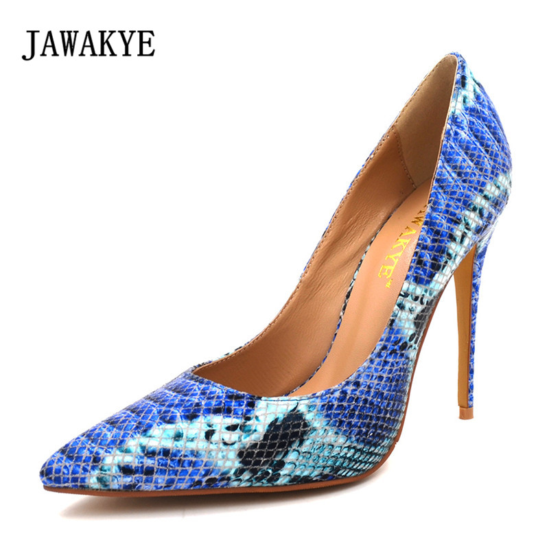Blue Extrem High Heel Shoes 2018 Snake Printing Women Shoes Fashion Shallow Mouth Pumps Woman Wedding Shoes Big Size blue extrem high heel shoes 2018 snake printing women shoes fashion shallow mouth pumps woman wedding shoes big size