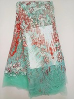 Africa France Lace Fabric Polyester Mesh Material Pearl Lace Plus Diamond Fabric For Lurex Cotton Dress