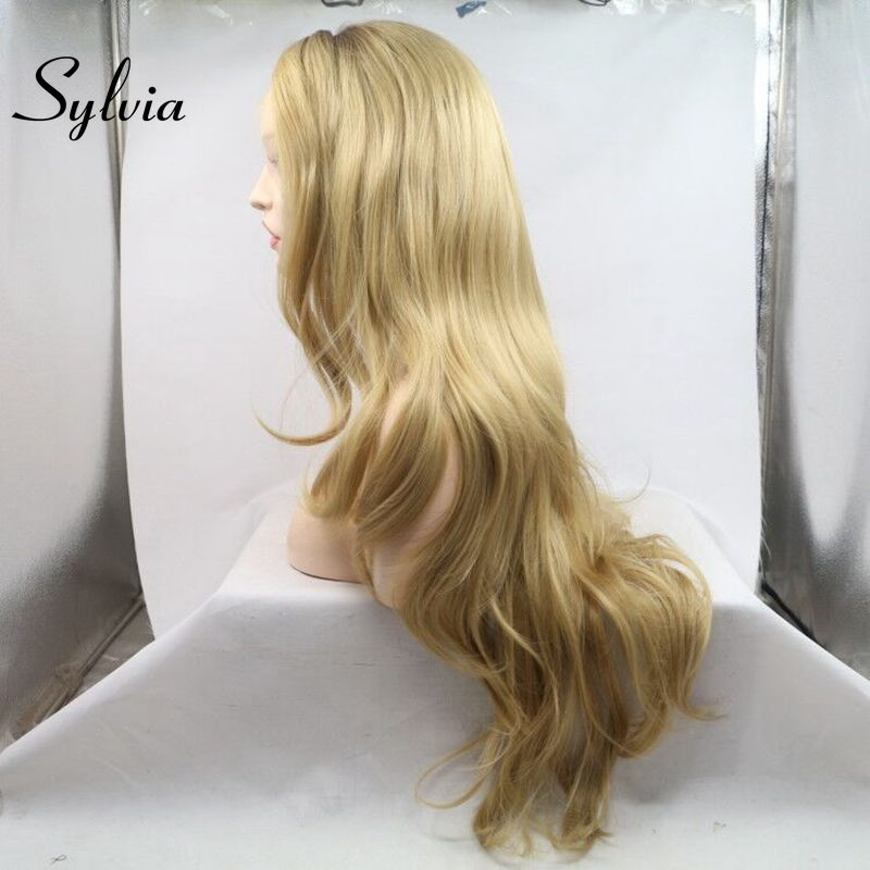 Sylvia Ombre Body Wave Wig Blonde Synthetic Lace Front Wigs Heat Resistant Fiber With Brown Roots For Women Side Part Lace Wig