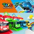 4 unids/set Escala modelo de autobús tayo el pequeño bus niños en miniatura de plástico bebé oyuncak garaje autobús tayo niños juguetes de Navidad regalo