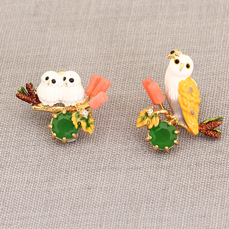 France Brand Enamel Pendant Earrings Cilp On White Owl Earrings And Stud Earrings Owl Baby Jewelry Prong Setting Crystal