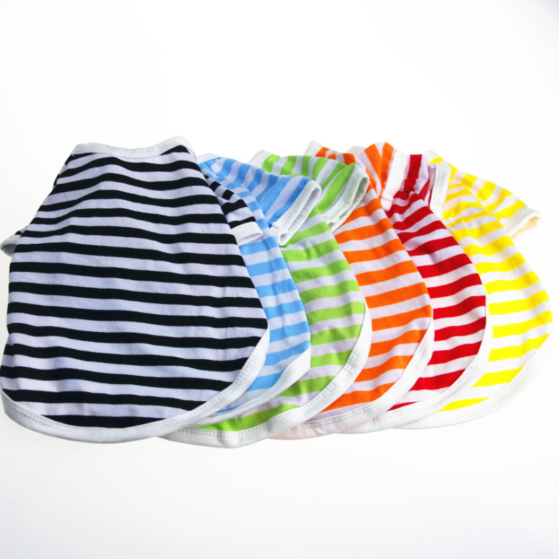 Pets Dogs Striped Clothes Summer Cotton Puppy T-shrit for Small Dog Cat Pet Hot Sale
