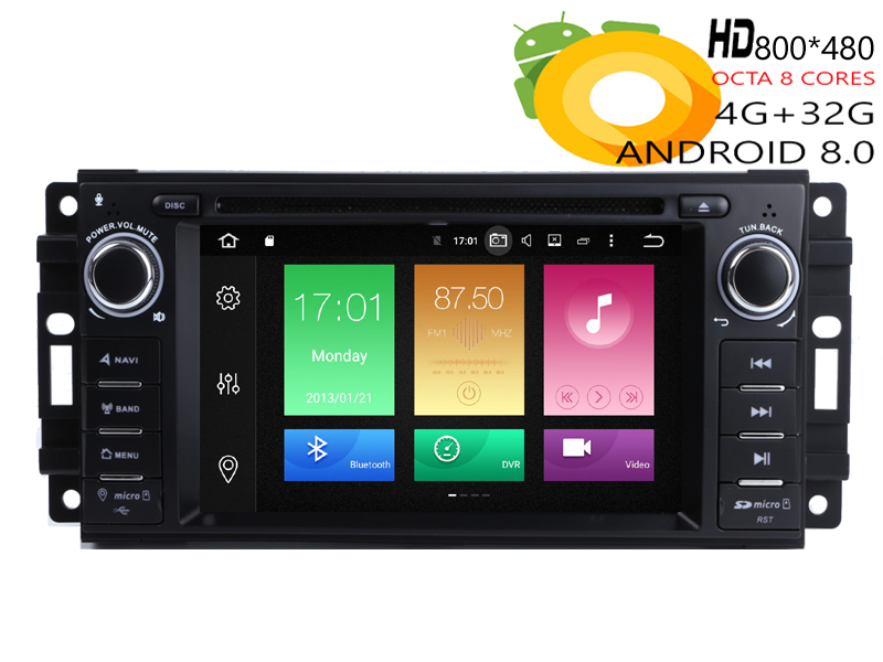 HIRIOT Car Android 8.0 DVD GPS Player For Jeep Wrangler <font><b>Grand</b></font> <font><b>Cherokee</b></font> Patriot Compass 8 Core 4G RAM 32G ROM 16G Map Radio image
