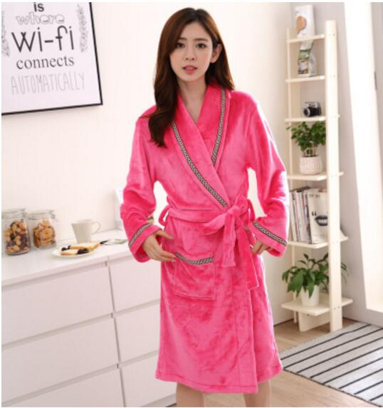 Thickening keeping warm pajamas Winter flannel gown bathrobe Robes ...