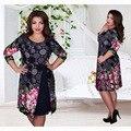 Mulheres dress novas mulheres do desenhador do vintage verão plus size 6xl dress senhoras vestidos de impressão patchwork na altura do joelho para vestidos de festa