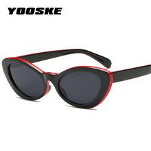 f29d6ca06 YOOSKE Pequeno Oval Olho de Gato Óculos De Sol Das Mulheres Óculos Retro  Preto Vermelho Amarelo óculos de Sol para As Mulheres ó.