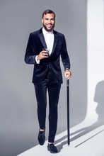 High End Slim Fit Blue Velvet Mens Suits Tuxedos Groomsmen Wedding Party Dinner Business Best Terno Men Suit(Jacket+Pants)