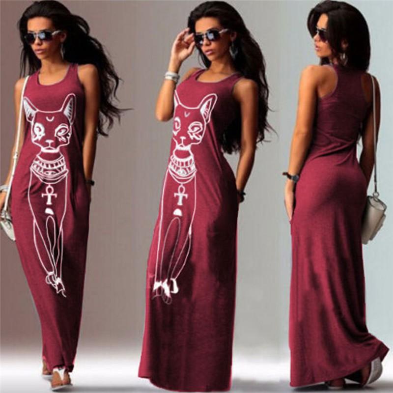 Sexy Evening Party Dresses Women 2016 Summer Dress Vestidos Wine Red Black Sexy Cartoon Cat Print Boho Long Maxi Beach Dresses (14)