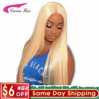 Carina Hair Brazilian Remy Human Hair 150% Density Pure 613 Blonde Lace Front Wigs With Baby Hair Bleached Knots Free Part