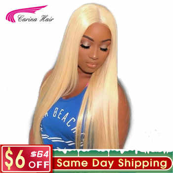 Carina Hair Brazilian Remy Human Hair 150% Density Pure 613 Blonde Lace Front Wigs With Baby Hair Bleached Knots Free Part - DISCOUNT ITEM  44% OFF Hair Extensions & Wigs