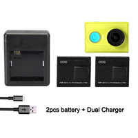 2PCS Camera Battery 1400mAh Lithium Batteries With Dual Charger For Xiaomi YI II 4K