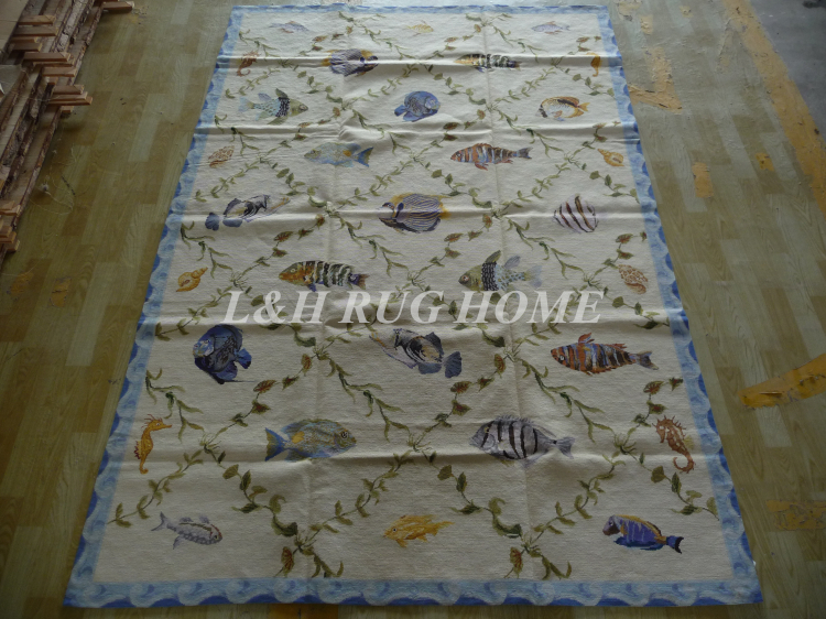 Livraison gratuite 6'x9 'tapis fait main nouvelle-zélande tapis à l'aiguille en laine et tapis design en bambou