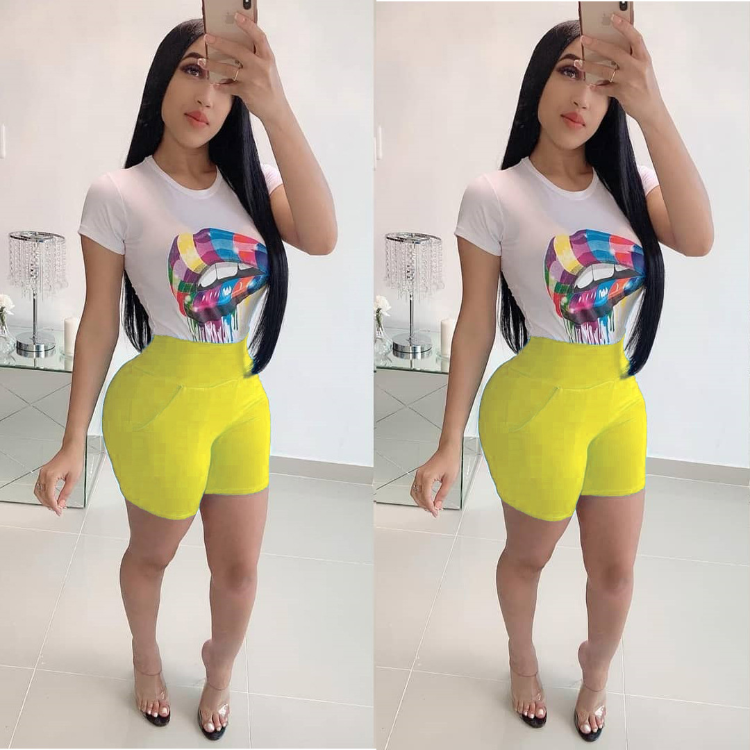 2019 new women colorful mouth lip print short sleeve t shirt with collar o top shorts suit 2 pieces casual sporty overall outfit in Women 39 s Sets from Women 39 s Clothing
