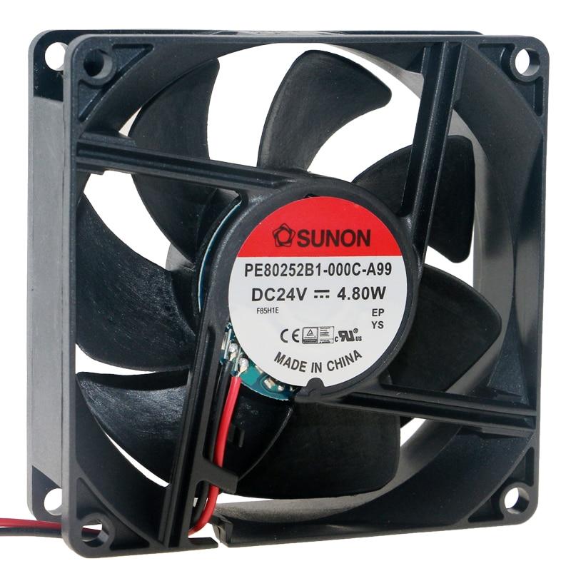 Brand new original PE80252B1-000C-A99 8025 8cm 80mm fan DC 24V 4.80W Large air volume inverter cooling fan original 12cm 24v 2 40a pfb1224uhe three line violent inverter cooling fan