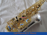 Professional Silver Plated Body And Gold Plated Keys Alto Saxophone Eb Sax Lapis Lazuli Key Shell