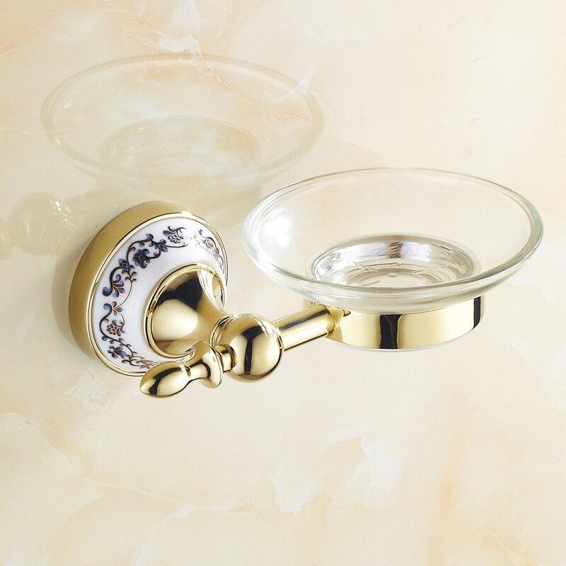 Bathroom accessories Golden soap dish holder wall mounted soap holder brass luxury bathroom hardware set
