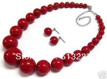 Free shipping hot sale beautiful 6-14mm red artificial coral round beads necklace earrings gifts jewelry set 18inch MY4277