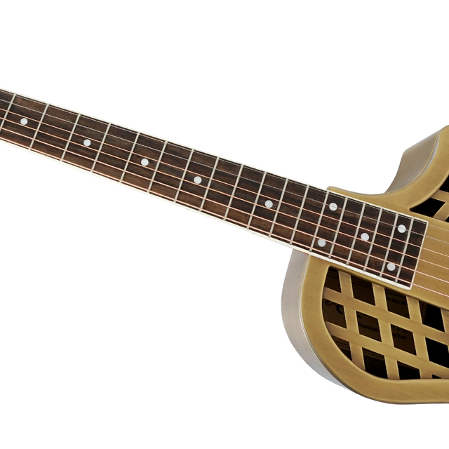 Aiersi Brand Vintage distressed golden finish Electric Parlour Resonator Guitar Free Guitar Case and Strap 2