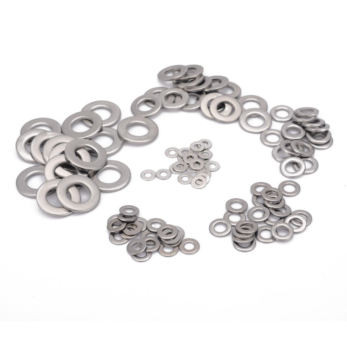 105pcs 304 Silver Stainless Steel Washers M3 M4 M5 M6 M8 M10 Metric Flat Washer Kit For Electronic Instruments