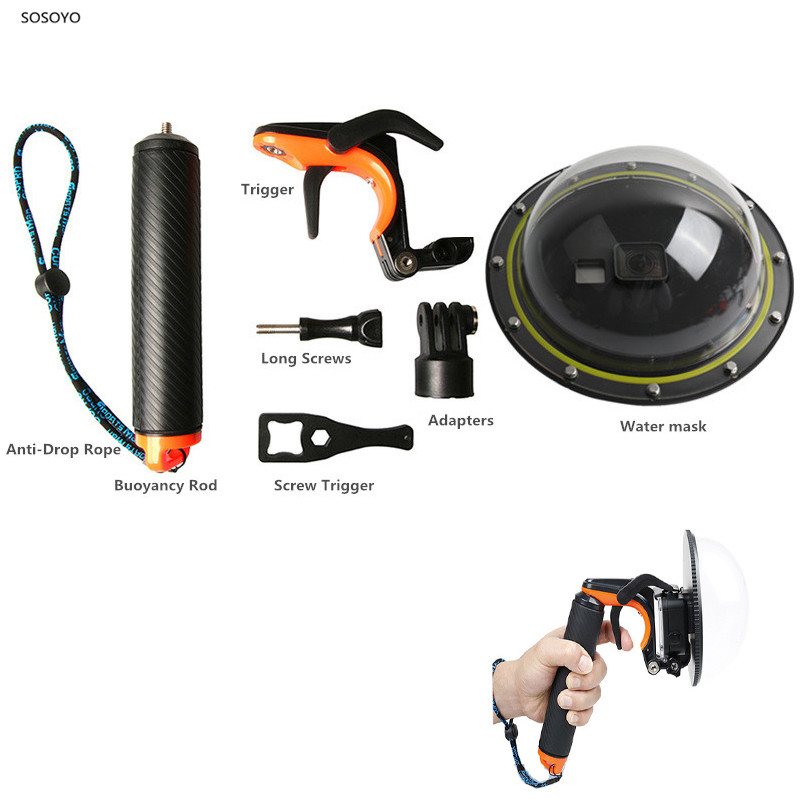Dome Port Waterproof Diving Case Housing Lens Mask with Handle and trigger For Gopro Hero 5