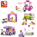 Friends Girls Series Dining car Girls Building Block City Sets Assemble Bricks  toys Compatible with Lego  Figures Toys Gift
