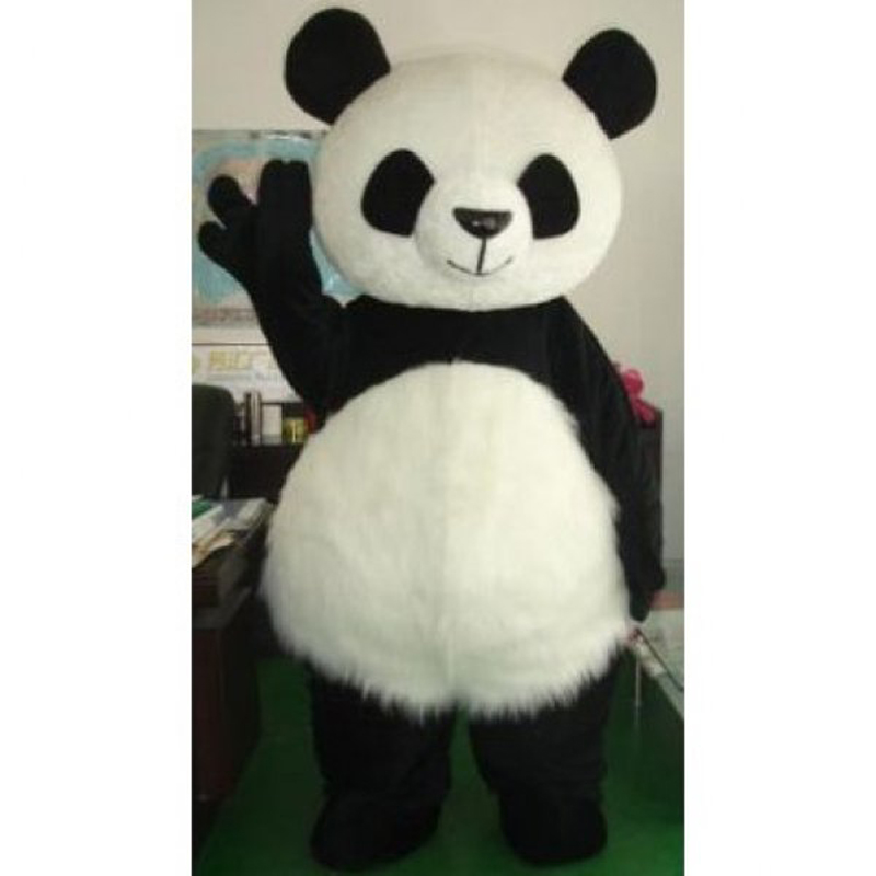 Chine gros cheveux longs Panda ours mascotte Costume robe fantaisie