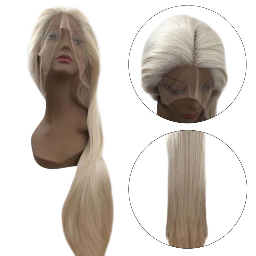 Fashion High Temperature Fiber Long Straight Blonde Synthetic Lace Front Wig 0703 iwona synthetic hair lace front long wavy ash blonde natural wig