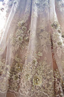 1 yard heavy beaded lace fabric, gold super delicat 3D beads lace fabric, vintage style bridal lace fabric, beading cord lace
