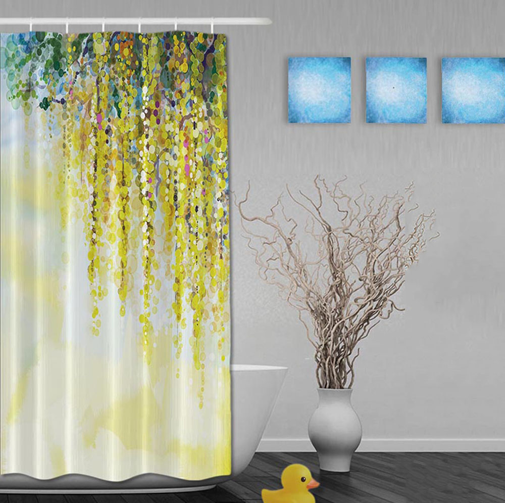 Amazing Custom Watercolor Drawing Beautiful Springday Yellow Flower Shower Curtains  Waterproof Fabric With Hooks Bathroom Shower Curtain In Shower Curtains  From ...
