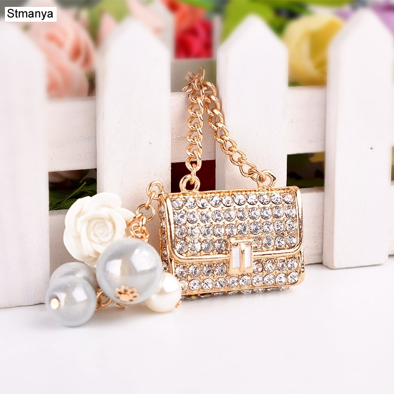 New Creative Gift Exquisite Bead Bag Fashion Crystal Car Key Holder Handbags Pendant Key Chain K1517