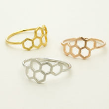 Daisies Hexagon Ring Gold Silver Honeycomb Rings Famous Brand Jewelry For Women Wedding Engagement Finger Ring(China)