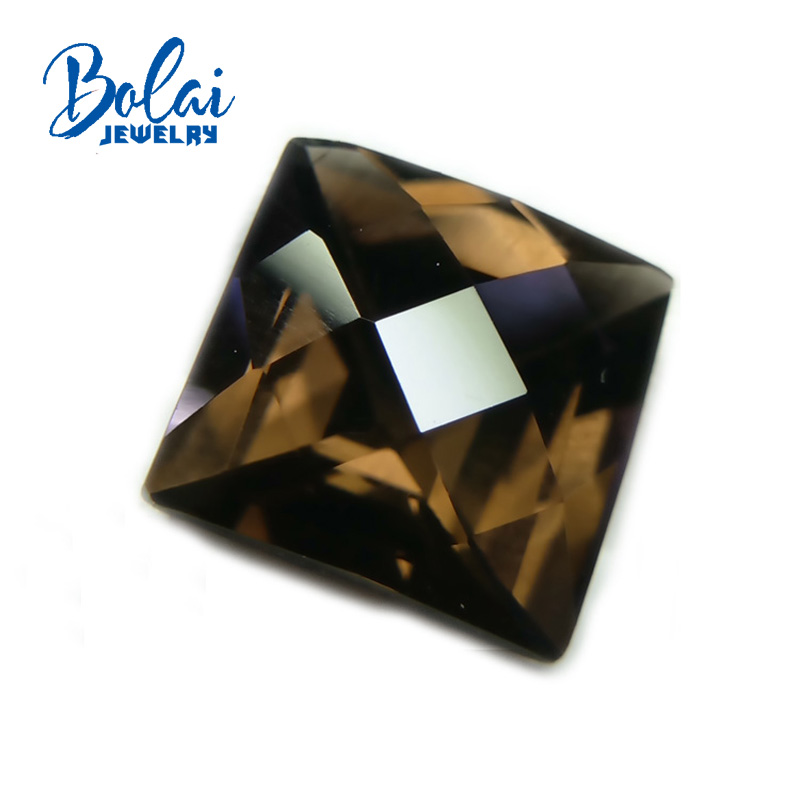 Bolaijewelry,Natural smoky quartz square 10mm checkrboard cut ,2 pieces in one lot  loose gemstone for jewelry