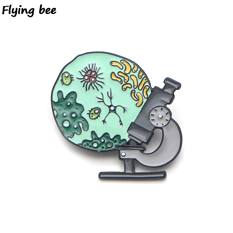 Flyingbee Medical Brooch Collection Microscope Enamel Pins For Women Men Backpack Badge Personality Hat Pin Charm Jewelry X0143