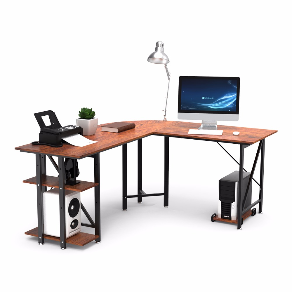 L Shaped Desk Corner Computer Desk PC Laptop Study Table Workstation Free Mainframe Stand ForWorking Studying Gaming Home Office
