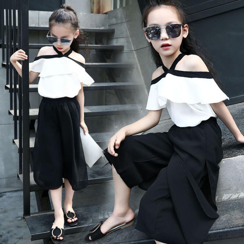 Новые модные летние комплекты одежды для девочек от 3 до 12 лет комплекты одежды для маленьких девочек рубашка с открытыми плечами и бантом + ...