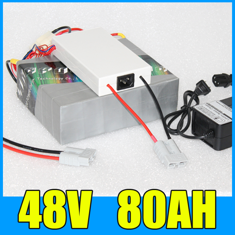 48V 80AH Lithium Battery Pack , 54.6V 3000W Electric bicycle Scooter solar energy Battery , Free BMS Charger Shipping 3 6v 2400mah rechargeable battery pack for psp 3000 2000
