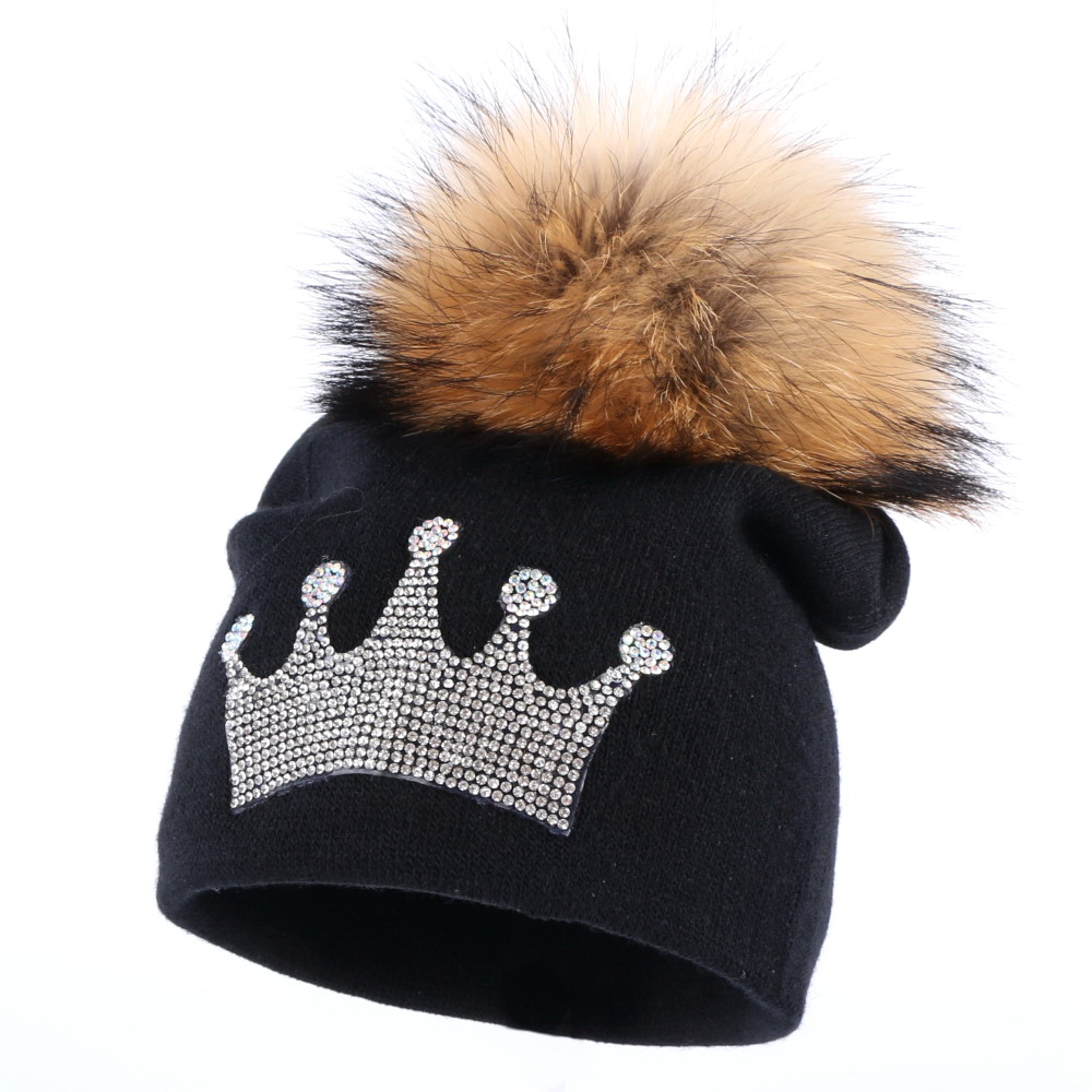 0-2 year old baby casual winter hat children crown beanies real mink pompom lovely boy girl skullies solid cotton warmer hats