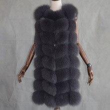 New 2017 Warm Fox Fur Vest Fashion Winter Women Real Fur Vests Woman Silver Fox Fur Coat Jacket Female Lady Fur Coats Size M-2XL